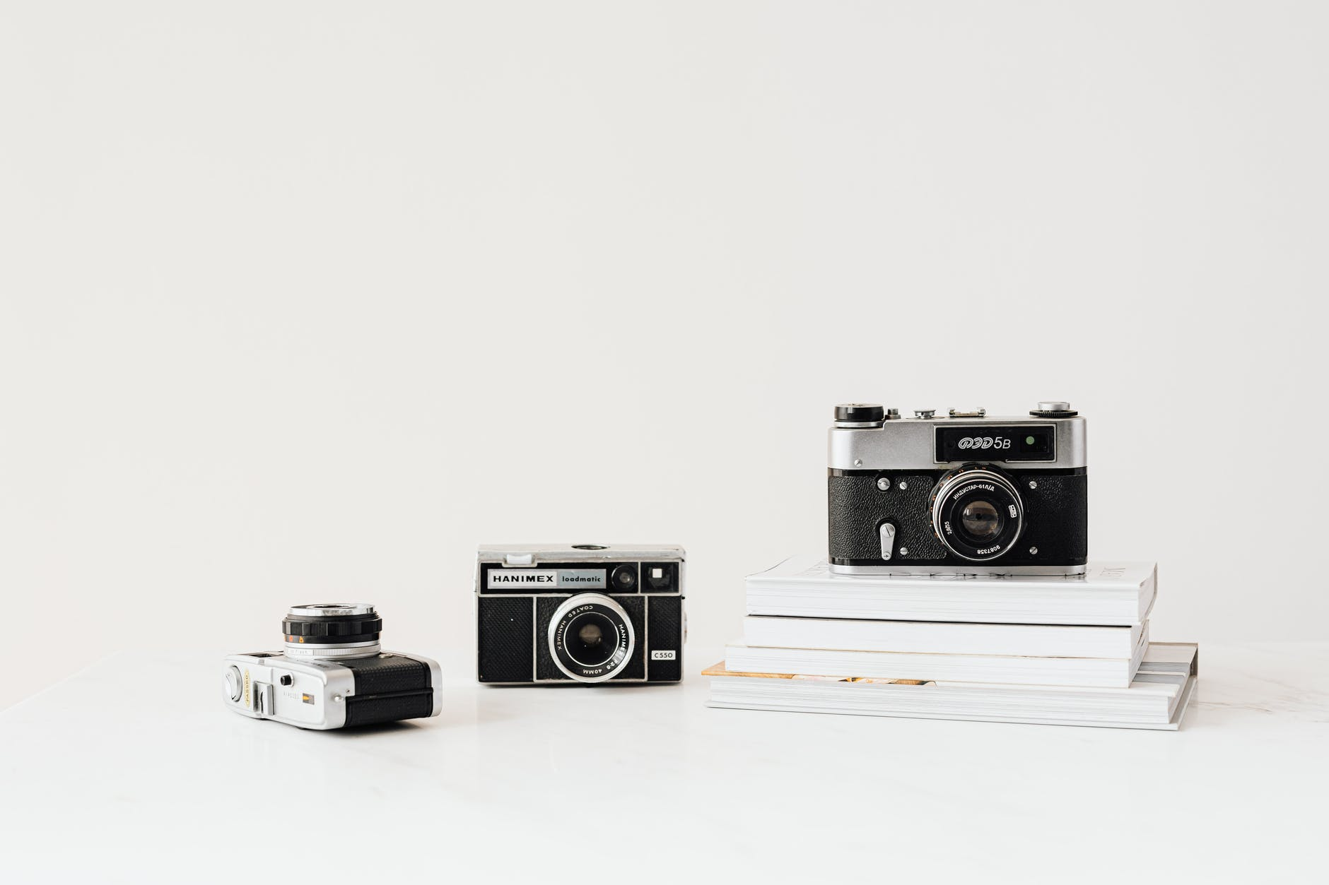 cameras on white background